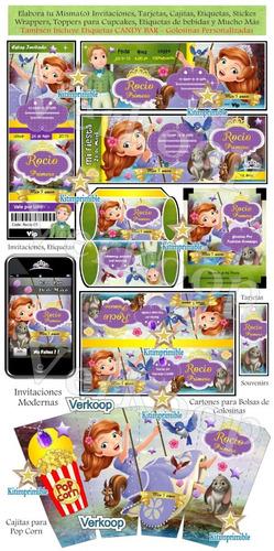 kit imprimible princesa sofia primera candy bar editable