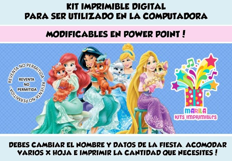 Kit Imprimible Princesas De Disney Y Palace Pet + Candy Bar - $ 59 ...