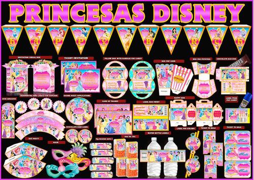 kit imprimible princesas disney 100% editable ¡nuevo 2014!