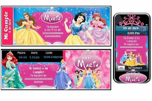 kit imprimible princesas disney bebe 100% personalizado