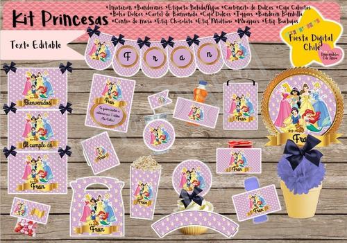 kit imprimible princesas disney cotillón, fiesta!