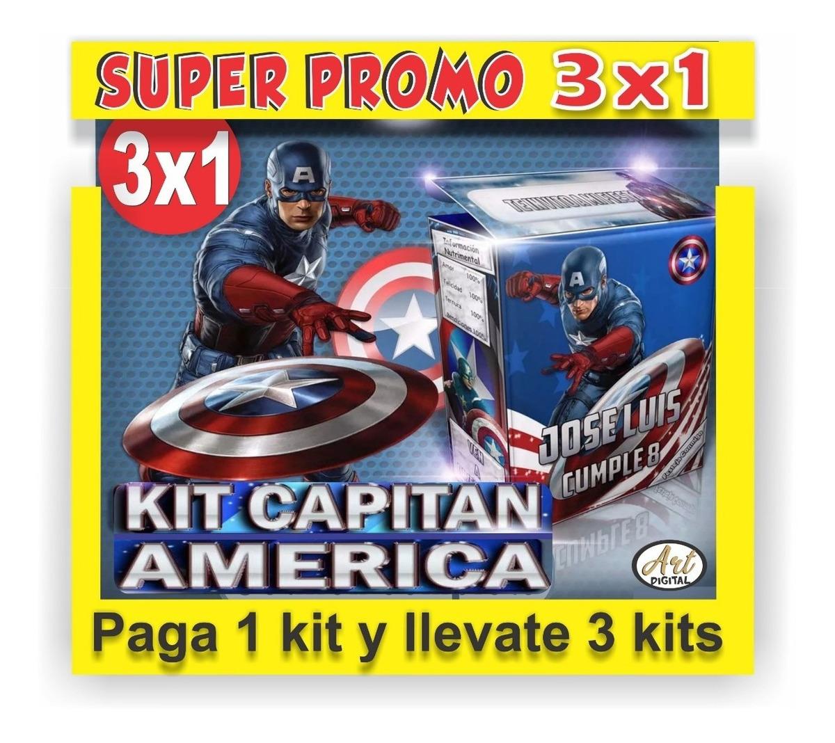 Kit Imprimible Promo 3x1 Capitán América Tarjetas Invitación