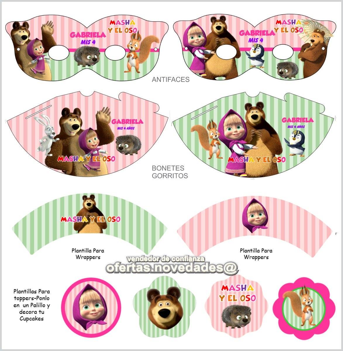 kit imprimible promo 3x1 masha y el oso invitaciones