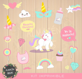 Kit Imprimible Props Cartelitos Baby Shower Unicornio Nena