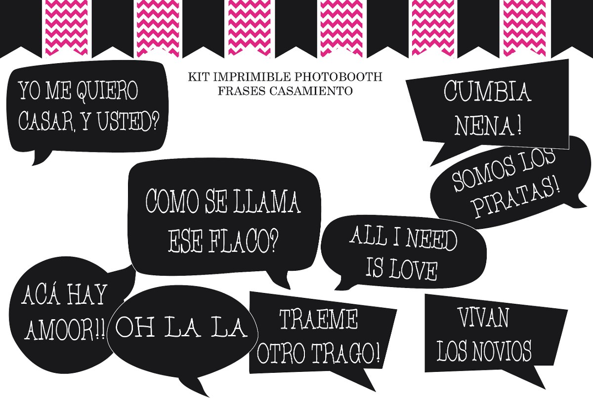 Kit Imprimible Props Photo Booth Frases Casamiento 20 Uni