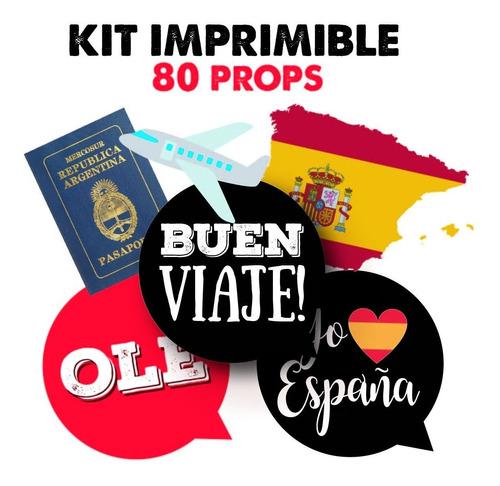 kit imprimible props viaje despedida españa - 80 unidades