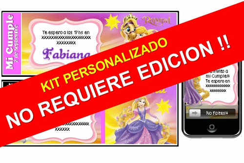 kit imprimible rapunzel cartoon personalizado 100%
