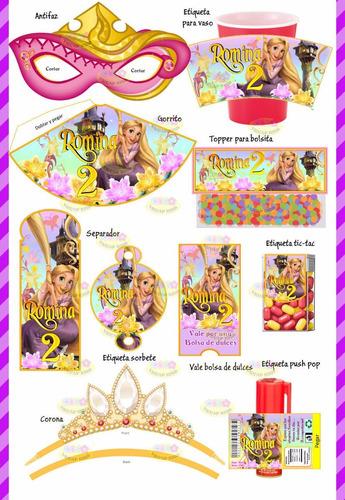 kit imprimible rapunzel enredados candy bar invitaciones