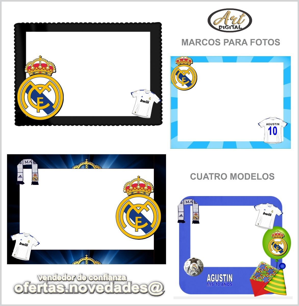 Kit Imprimible Real Madrid Tarjetas Invitaciones Cumple 2x1 54