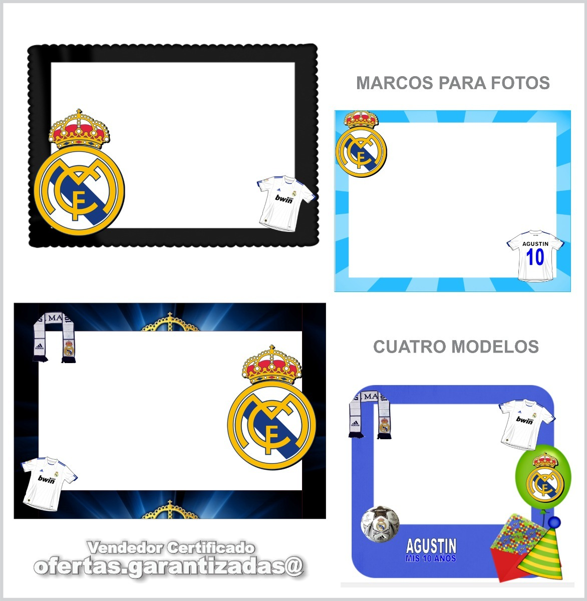 Kit Imprimible Real Madrid Tarjetas Invitaciones