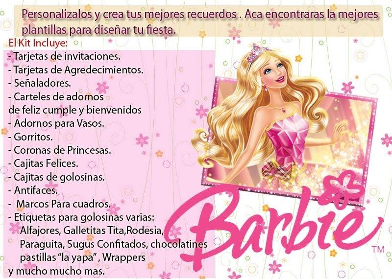 Kit Imprimible Recuerdos Barbie Escuela De Princesas - $ 8.000 en ...