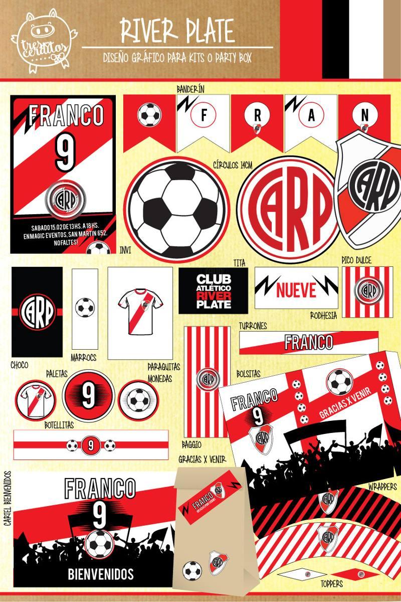 0621fa27e Kit Imprimible River Plate Futbol Candy Bar Deco! - $ 250,00 en ...