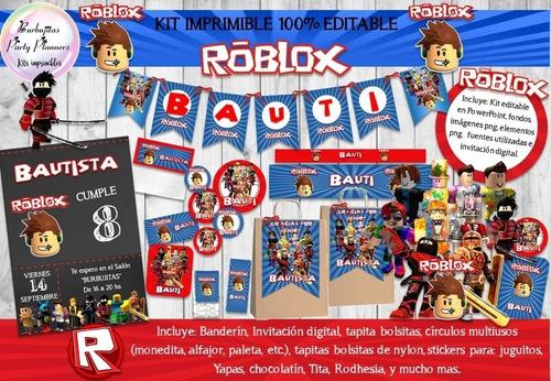 kit imprimible roblox decoración invitación robot n48