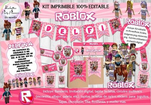 kit imprimible roblox niña rosa decoracion invitación n74