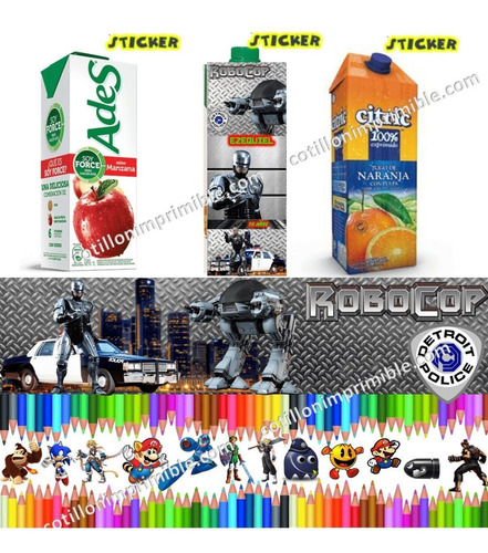 kit imprimible robocop clasico con candy bar 100% modificabl
