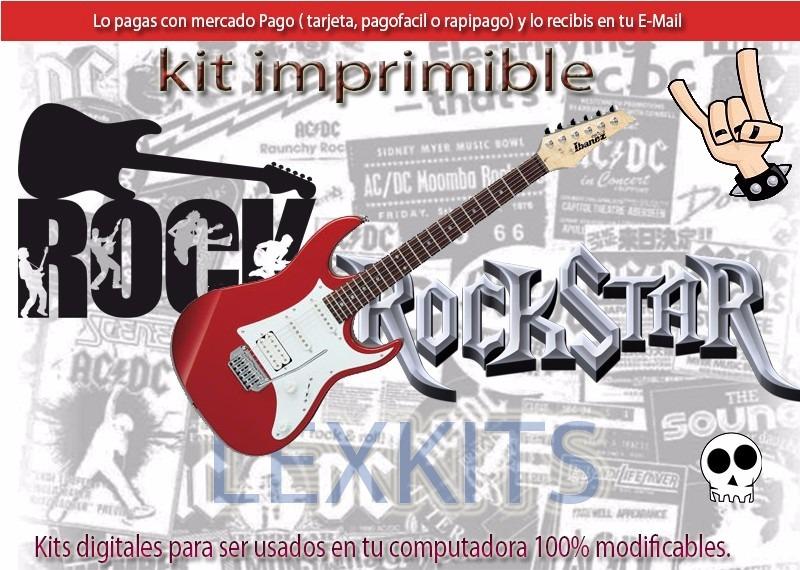 Kit Imprimible Rock Rokstar Rockero Tarjetas Cumple 2x1 189 00
