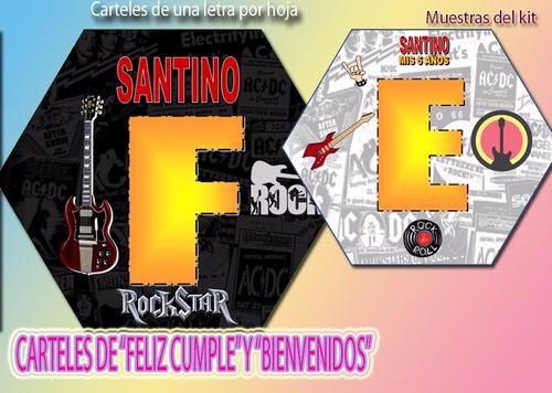 kit imprimible rock rokstar rockero tarjetas cumple (2x1)