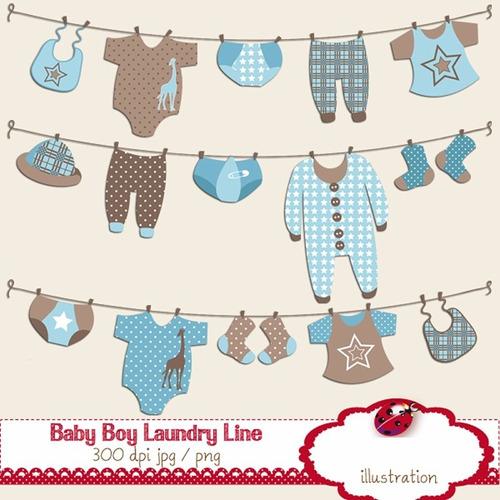 kit imprimible ropa bebe nene 15 imagenes clipart