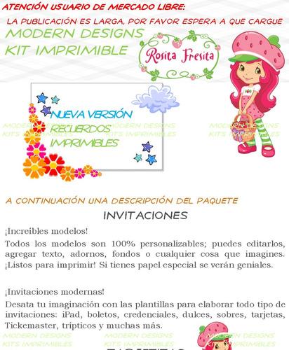 kit imprimible rosita fresita adornos invitaciones y+