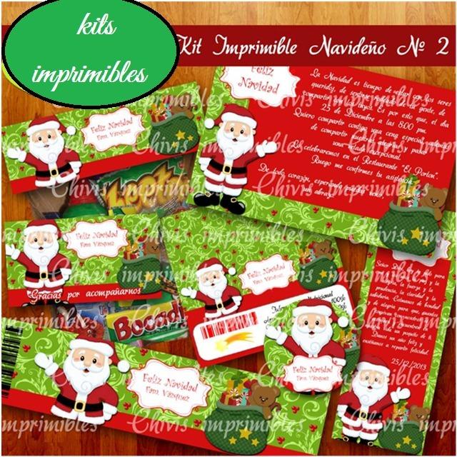 Postres Para Una Feliz Navidad.Kit Imprimible Santa Clus Navidad Etiquetas Candy Bar Postre