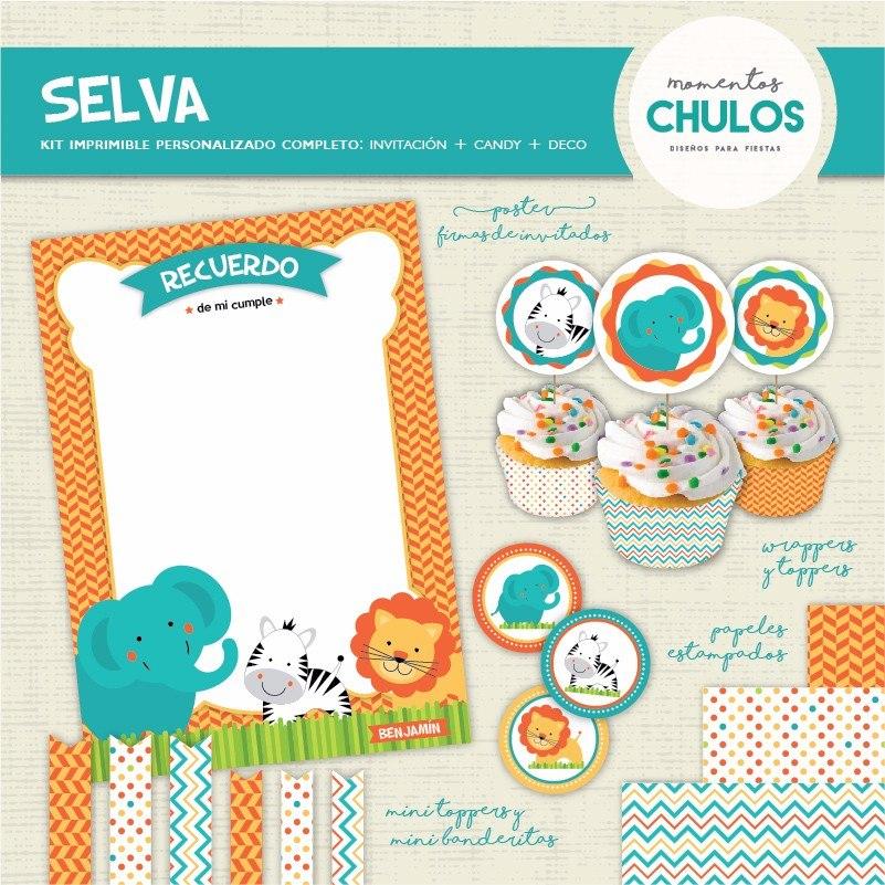 Kit Imprimible Selva Animales Bebes Personalizado Primer Año - $ 345 ...