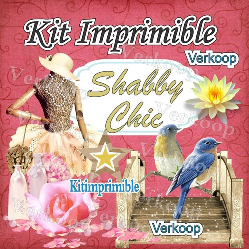 kit imprimible shabby chic + candy bar fiesta personalizada