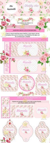 kit imprimible shabby chic candy bar personalizados cod 8