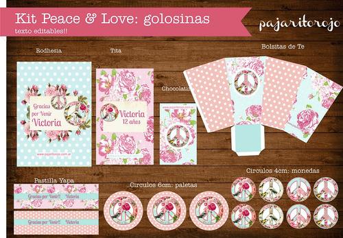 kit imprimible shabby chic peace & love