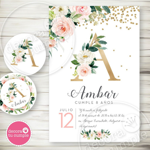 kit imprimible shabby cumpleaños rosas acuarela dorado