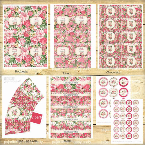 kit imprimible shabby rose quinceaños