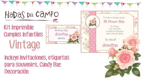 kit imprimible shabby vintage cumple bautismo candy bar deco