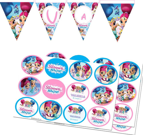 kit imprimible shimmer and shine editable