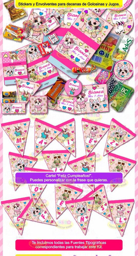 kit imprimible simones perritos invitaciones candy bar y mas