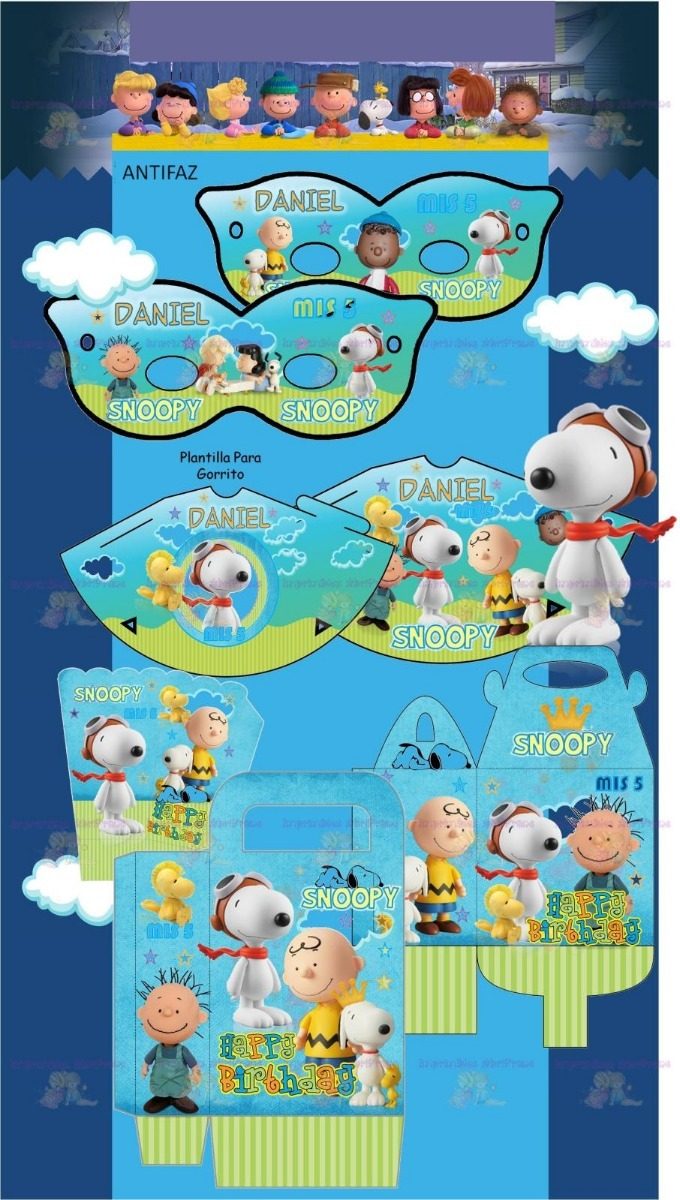 Kit Imprimible Snoopy Charlie Brown Cumpleaños Candy Bar 2x1 ...