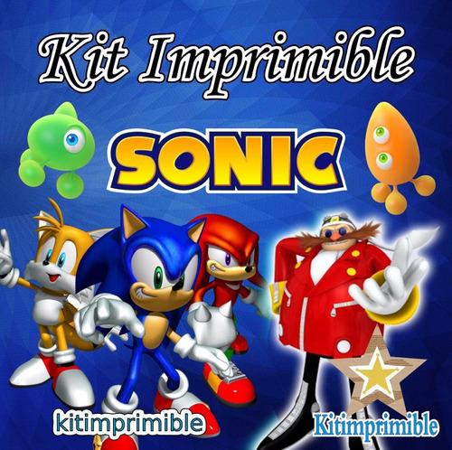 kit imprimible sonic + candy bar invitaciones niño (a)