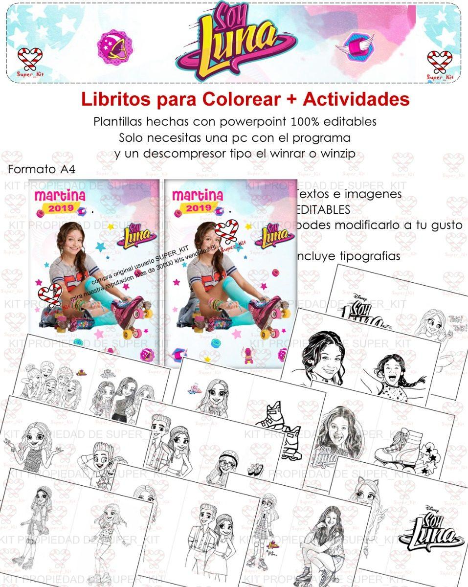 Kit Imprimible Soy Luna Libritos Pintar Calendarios Editable