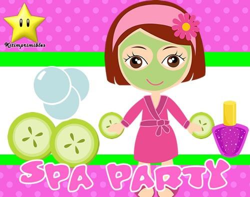 kit imprimible spa party diseñá tarjetas, cumples y mas