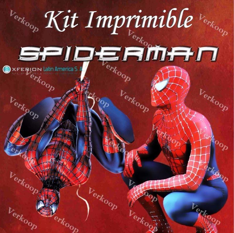 kit imprimible spiderman el hombre araa invitaciones fiesta
