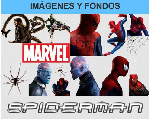kit imprimible spiderman fiesta 3x1