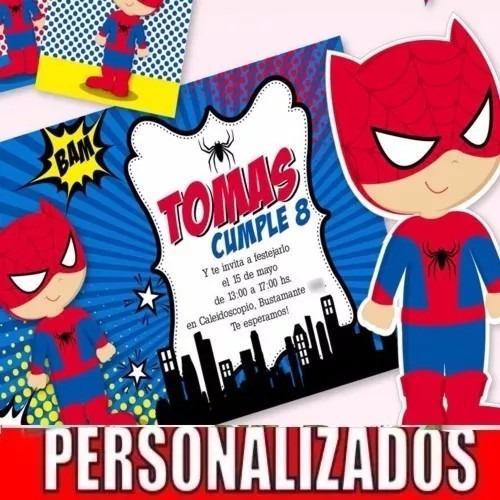 Kit Imprimible Spiderman Hombre Araña Cumpleaños Invitación $ 150 00 en Mercado L