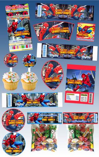 kit imprimible spiderman personalizado mas de 30 etiquetas