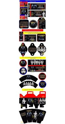 kit imprimible star wars darth vader diseña tarjetas y mas