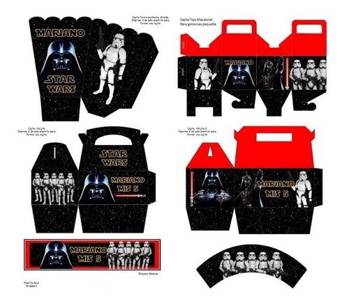 kit imprimible star wars darth vader fiesta 3x1