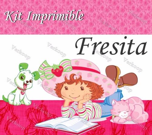 kit imprimible strawberry fresita rosita invitaciones marcos