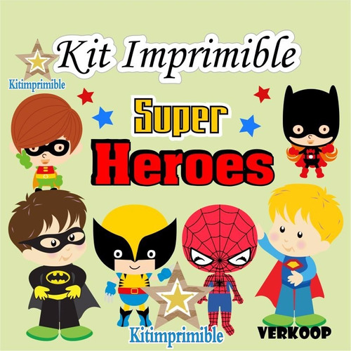 kit imprimible super heroes + candy bar niño (a) modificable