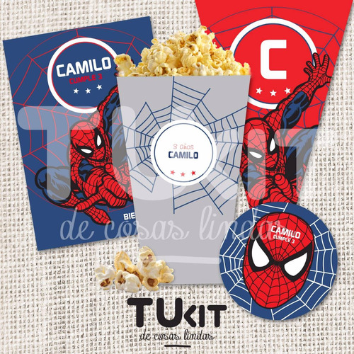 kit imprimible super heroes - spiderman - candy bar tukit
