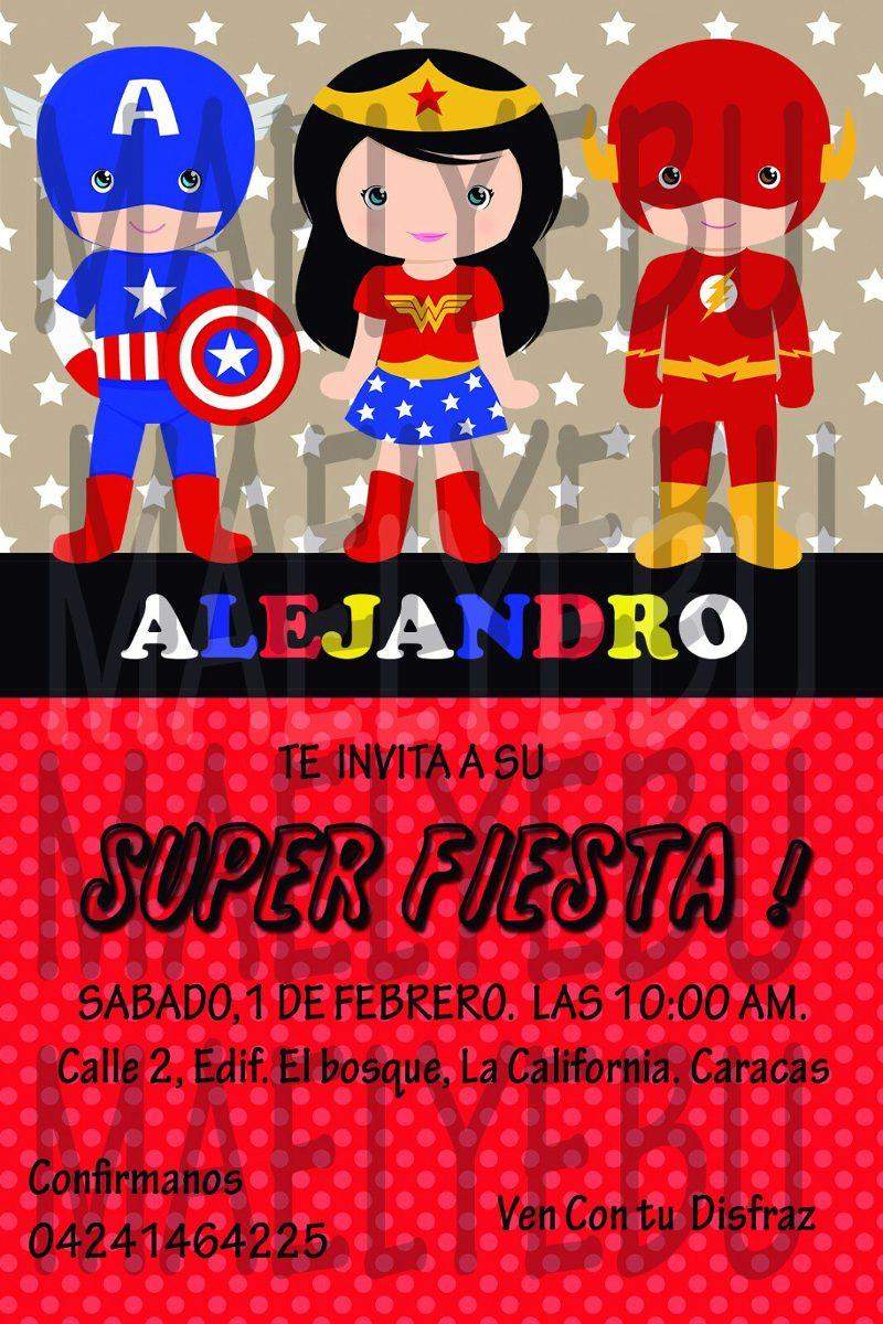 Kit Imprimible Super Heroes Tarjeta Invitaciones