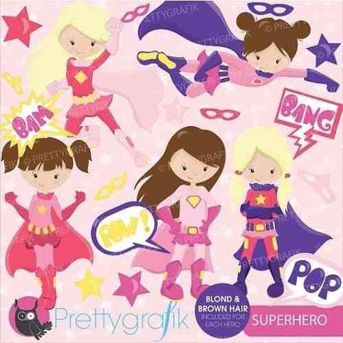 kit imprimible superheroes nenas 5 imagenes clipart