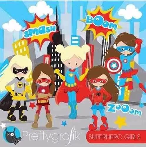 kit imprimible superheroes nenas clipart imagenes cod 8