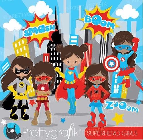 kit imprimible superheroes nenas imagenes clipart cod 9